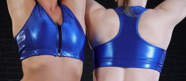 "Top ""LAZY"" Metallic Glitter Royal Blue"